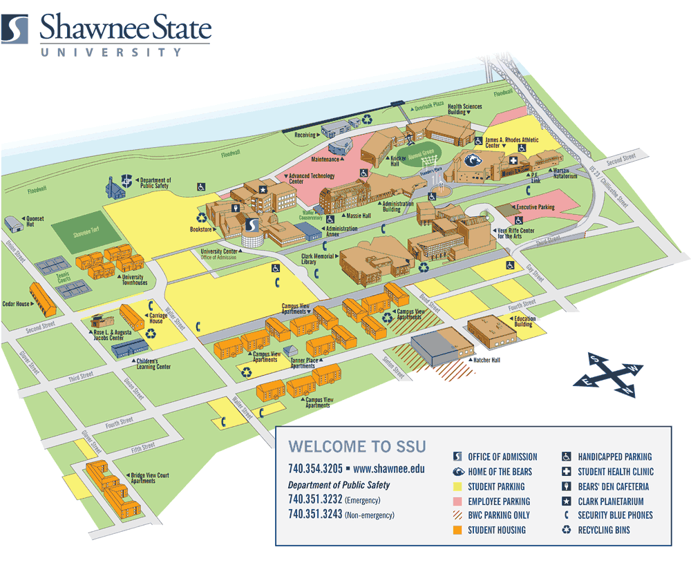 Time Zones Map: Shawnee State University Campus Map